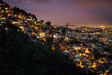 View of Fragile Residential Houses on the Hill in Rio de Janeiro at Night