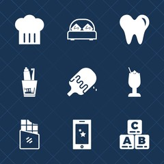 Premium set with fill icons. Such as bedroom, alcohol, play, technology, dentistry, child, chief, toothpaste, food, glass, care, ice, hygiene, house, mobile, furniture, white, double, dessert, drink