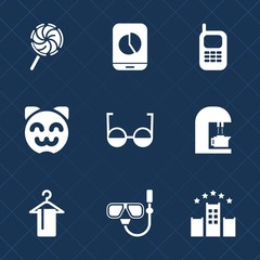 Premium set with fill icons. Such as drink, graph, phone, summer, business, candy, communication, hotel, food, espresso, cafe, old, cat, clothing, coffee, technology, white, dessert, telephone, mask