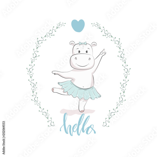 Cute Vector Illustration With Hippo Baby For Baby Wear And