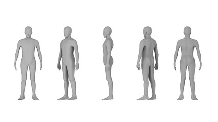 Wire frame of human bodies. Polygonal model on white background. artificial intelligence concept, 3d illustration
