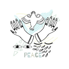 Print Peace Hand-Drawn Illustration Background. Doodle sketch.