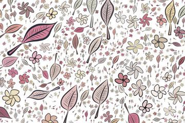 Color leaves & flowers illustrations background, hand drawn. Design, art, wallpaper & digital.