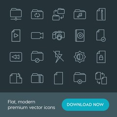 Modern Simple Set of folder, video, photos, files Vector outline Icons. Contains such Icons as  symbol, security,  illustration,  compact and more on dark background. Fully Editable. Pixel Perfect.