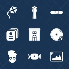 Premium set with fill icons. Such as frame, music, identity, album, beauty, building, graphic, estate, identification, summer, house, sky, image, dress, photo, hospital, clothes, health, card, sound