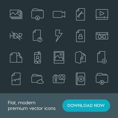 Modern Simple Set of folder, video, photos, files Vector outline Icons. Contains such Icons as  camera, image,  button,  download, selfie and more on dark background. Fully Editable. Pixel Perfect.