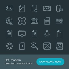 Modern Simple Set of folder, video, photos, files Vector outline Icons. Contains such Icons as  picture,  nature,  media, panorama,  storage and more on dark background. Fully Editable. Pixel Perfect.