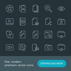 Modern Simple Set of folder, video, photos, files Vector outline Icons. Contains such Icons as  person,  booklet,  view,  lens, video,  data and more on dark background. Fully Editable. Pixel Perfect.
