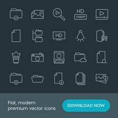 Modern Simple Set of folder, video, photos, files Vector outline Icons. Contains such Icons as  television, player,  folder,  picture,  tv and more on dark background. Fully Editable. Pixel Perfect.