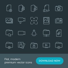 Modern Simple Set of folder, video, photos, files Vector outline Icons. Contains such Icons as  photo,  web,  button,  person,  design, play and more on dark background. Fully Editable. Pixel Perfect.