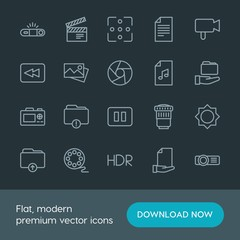 Modern Simple Set of folder, video, photos, files Vector outline Icons. Contains such Icons as  entertainment,  projection,  photography and more on dark background. Fully Editable. Pixel Perfect.