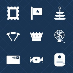 Premium set with fill icons. Such as communication, letter, usa, dinner, plate, blank, vintage, send, photo, country, extreme, red, sky, national, queen, royal, pattern, mail, identity, picture, flag
