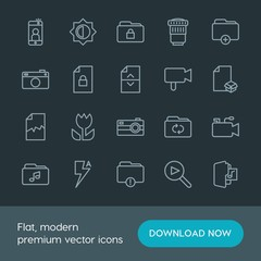Modern Simple Set of folder, video, photos, files Vector outline Icons. Contains such Icons as movie,  camera,  photo,  lens,  mobile,  lock and more on dark background. Fully Editable. Pixel Perfect.