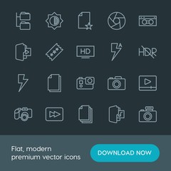 Modern Simple Set of folder, video, photos, files Vector outline Icons. Contains such Icons as multimedia,  entertainment,  movie,  web, hd and more on dark background. Fully Editable. Pixel Perfect.