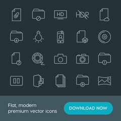 Modern Simple Set of folder, video, photos, files Vector outline Icons. Contains such Icons as  scenery,  video, business,  theater, movie and more on dark background. Fully Editable. Pixel Perfect.