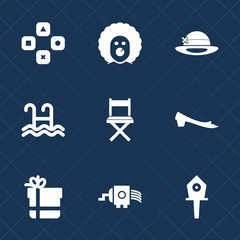 Premium set with fill icons. Such as spring, object, bow, nest, computer, funny, costume, play, circus, fashion, halloween, swim, horror, cap, fun, technology, house, box, grater, gaming, scary, sport