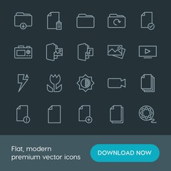 Modern Simple Set of folder, video, photos, files Vector outline Icons. Contains such Icons as  download,  storage, check,  television, add and more on dark background. Fully Editable. Pixel Perfect.
