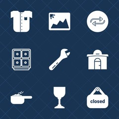Premium set with fill icons. Such as dinner, equipment, style, shop, business, image, safe, pot, wine, male, glass, store, change, banner, finance, photo, hammer, dish, replacement, fashion, clothing
