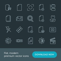 Modern Simple Set of folder, video, photos, files Vector outline Icons. Contains such Icons as  illustration, projector,  background, camera and more on dark background. Fully Editable. Pixel Perfect.