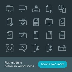 Modern Simple Set of folder, video, photos, files Vector outline Icons. Contains such Icons as  caption, hd,  quality, change,  illustration and more on dark background. Fully Editable. Pixel Perfect.