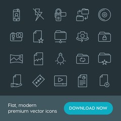 Modern Simple Set of folder, video, photos, files Vector outline Icons. Contains such Icons as upload,  entertainment, broken, internet,  cd and more on dark background. Fully Editable. Pixel Perfect.