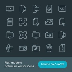 Modern Simple Set of folder, video, photos, files Vector outline Icons. Contains such Icons as  delete,  space,  web,  camera,  technology and more on dark background. Fully Editable. Pixel Perfect.
