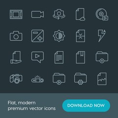 Modern Simple Set of folder, video, photos, files Vector outline Icons. Contains such Icons as  space,  cloud,  add,  sign,  dslr,  iso,  cd and more on dark background. Fully Editable. Pixel Perfect.