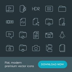 Modern Simple Set of folder, video, photos, files Vector outline Icons. Contains such Icons as  system, camera, network,  data,  media, stop and more on dark background. Fully Editable. Pixel Perfect.