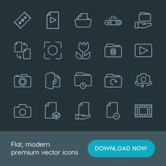 Modern Simple Set of folder, video, photos, files Vector outline Icons. Contains such Icons as  space,  photo,  digital,  internet,  lens and more on dark background. Fully Editable. Pixel Perfect.