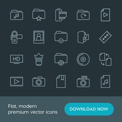 Modern Simple Set of folder, video, photos, files Vector outline Icons. Contains such Icons as  old,  entertainment,  picture,  update,  web and more on dark background. Fully Editable. Pixel Perfect.