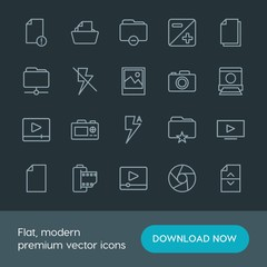 Modern Simple Set of folder, video, photos, files Vector outline Icons. Contains such Icons as  camera,  old,  information, office, camera and more on dark background. Fully Editable. Pixel Perfect.