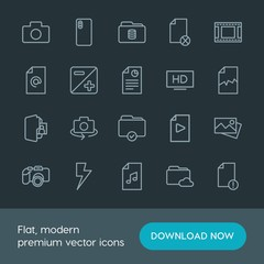 Modern Simple Set of folder, video, photos, files Vector outline Icons. Contains such Icons as  network, data,  dual,  picture,  database and more on dark background. Fully Editable. Pixel Perfect.