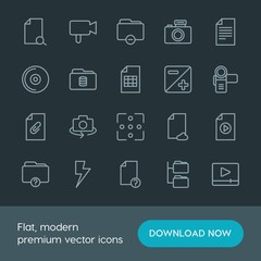 Modern Simple Set of folder, video, photos, files Vector outline Icons. Contains such Icons as  concept,  technology, light,  retro,  web and more on dark background. Fully Editable. Pixel Perfect.