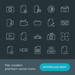 Modern Simple Set of folder, video, photos, files Vector outline Icons. Contains such Icons as  digital,  search, folder,  pocket,  delete and more on dark background. Fully Editable. Pixel Perfect.