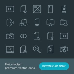 Modern Simple Set of folder, video, photos, files Vector outline Icons. Contains such Icons as  scroll, player,  phone,  symbol,  document and more on dark background. Fully Editable. Pixel Perfect.