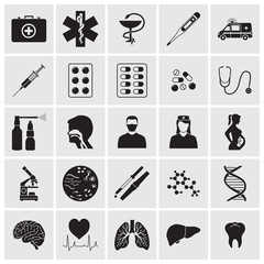 Medical and biological detailed icons set
