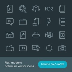 Modern Simple Set of folder, video, photos, files Vector outline Icons. Contains such Icons as dvd,  sky,  file,  graphic,  paper,  nature and more on dark background. Fully Editable. Pixel Perfect.