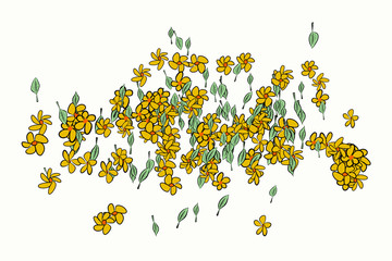 Color leaves & flowers illustrations background, hand drawn. Repeat, design, cartoon & vector.