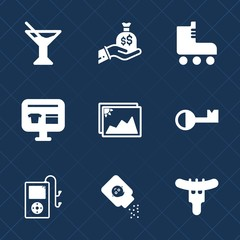 Premium set with fill icons. Such as dinner, sack, finance, health, tropical, music, food, sausage, cocktail, summer, frame, photo, ecommerce, image, leisure, meat, skate, key, drink, ice, white, hand
