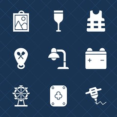 Premium set with fill icons. Such as bottle, location, machine, restaurant, poker, drill, glass, wineglass, photo, map, web, hand, decoration, full, drink, beverage, picture, lamp, home, london, game