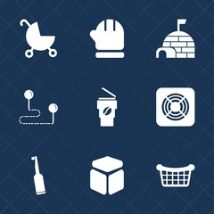 Premium set with fill icons. Such as wheel, buggy, fan, kid, dental, cube, house, cold, winter, travel, arctic, child, square, coffee, hat, scarf, warm, carriage, position, gloves, season, cup, brush