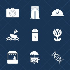 Premium set with fill icons. Such as helmet, van, food, market, construction, camera, dna, salt, supermarket, model, photographer, pants, nature, photo, cream, safety, black, photography, picture, hat