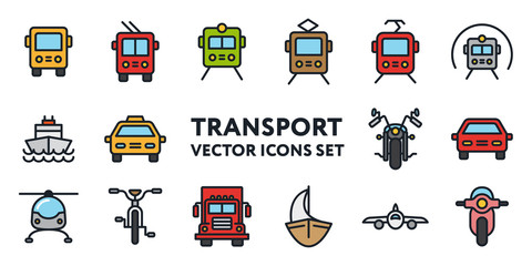 Public Transport Signs. Flat Color Line Icon Set. Bus, Trolleybus, Tram, Car, Taxi, Bicycle, Motorcycle, Train, Metro, Helicopter, Moped, Scooter, Truck, Ship, Sailboat.