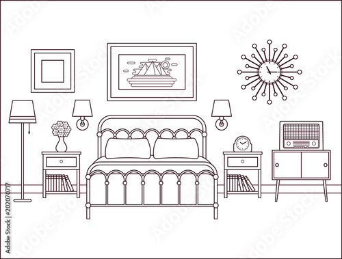 Bedroom Interior Hotel Retro Room With Bed Vector Outline Home