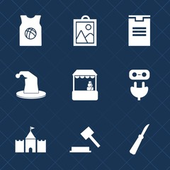 Premium set with fill icons. Such as power, tower, business, transportation, judge, shop, store, adapter, t-shirt, cart, circus, shipping, magician, knife, supermarket, package, basketball, fun, sign