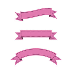 Set of pink stitched ribbon banners in flat design.
