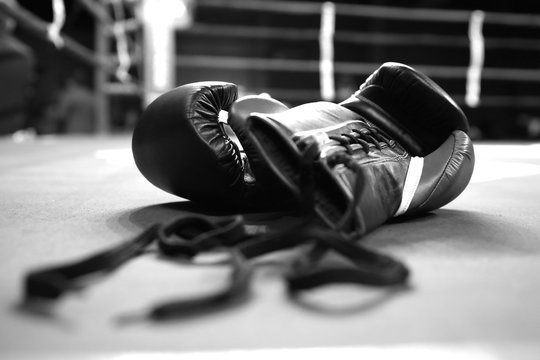 Boxing gloves in boxing ring