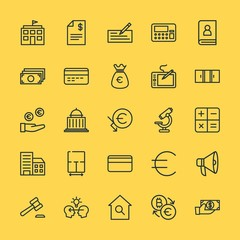 Modern Simple Set of business, money, buildings, education Vector outline Icons. Contains such Icons as  invoice,  currency,  bank, court and more on yellow background. Fully Editable. Pixel Perfect.