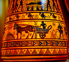 Greek Ancient Replica Pottery Chariot Athens Greece