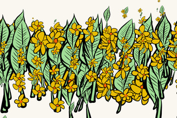 Color leaves & flowers illustrations background, hand drawn. Cartoon, creative, green & style.